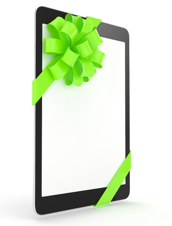 fiestas electronicas: Black tablet with green bow and empty screen. 3D rendering.