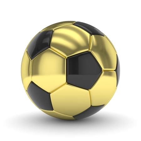 golden ball: Golden soccer ball on white background. 3D rendering.
