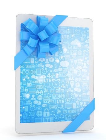 fiestas electronicas: White tablet with blue bow and blue screen. 3D rendering.