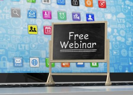 free education: Laptop with chalkboard, free webinar, online education concept. 3d rendering.