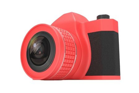 analogue: Retro camera isolated on  white background. 3d rendering.