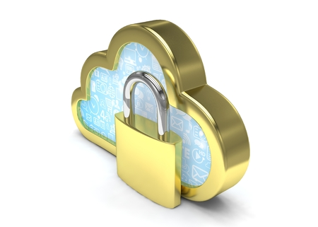 information icon: Cloud computing, security concept on white. 3d rendering.