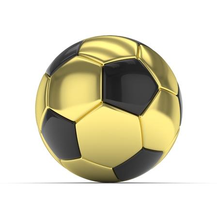 shiny gold: Golden soccer ball on white background. 3D rendering.