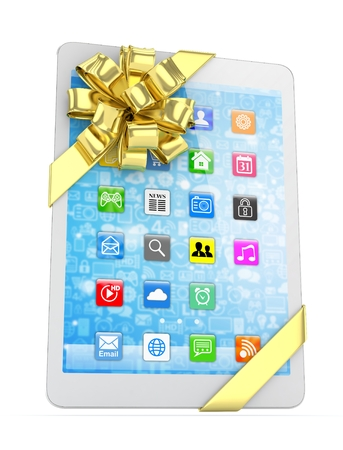 fiestas electronicas: White tablet with golden bow and icons. 3D rendering.