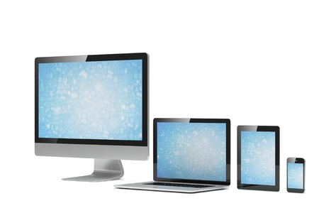 computer devices: Ultimate web design, laptop, smartphone, tablet, computer, display. 3d rendering.