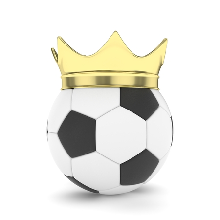 3d ball: Soccer ball with golden crown on white background. 3D rendering. Stock Photo