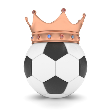 3d ball: Soccer ball with bronze crown on white background. 3D rendering. Stock Photo