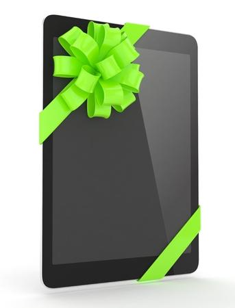 fiestas electronicas: tableta negro con el arco verde. representaci�n 3D.