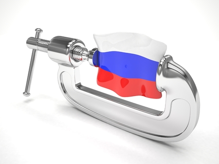 sanction: Russias flag in clamp, crisis, sanction concept. 3d rendering.