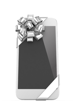 fiestas electronicas: White phone with silver bow. 3D rendering.
