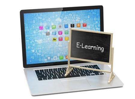 Ordenador portátil con la pizarra electrónica, el aprendizaje, el concepto de educación en línea. Las 3D.