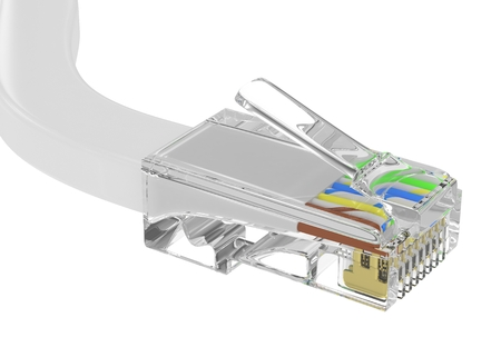 rj 45: wire rj-45 on a white background, isolated. 3d rendering.