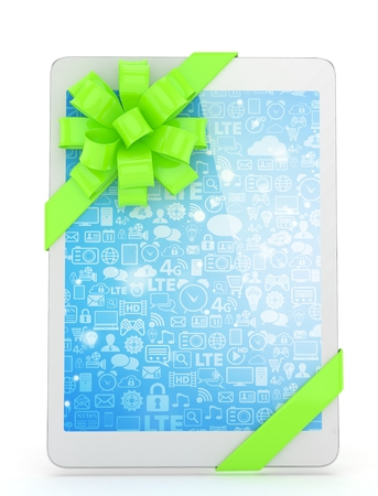 fiestas electronicas: White tablet with green bow and blue screen. 3D rendering.