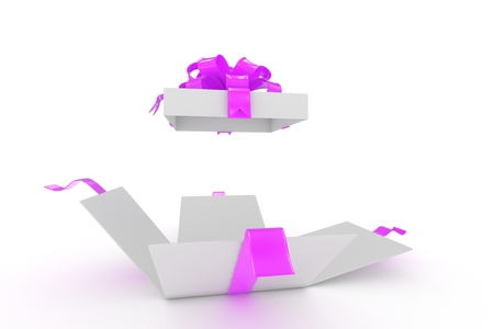 open gift box on white background. 3d rendering.