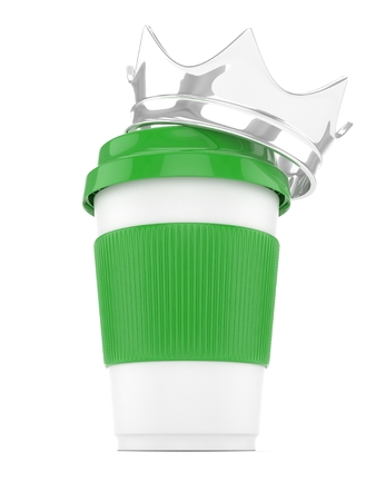 energize: Coffee cup with silver crown on white background. Concept of luxury royal coffee. 3D rendering.