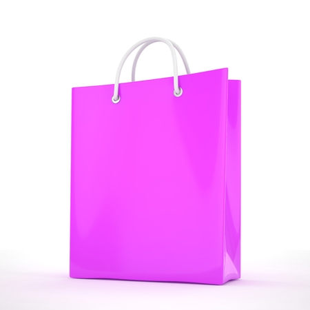 shoping bag: Paper Shopping Bag isolated on white background. 3d rendering.