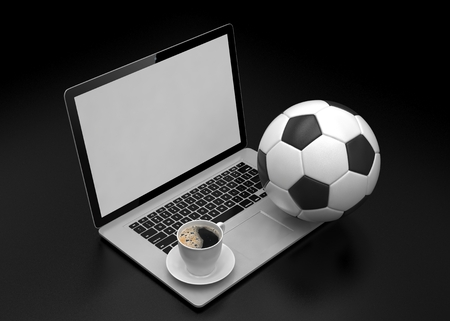 3d ball: laptop and soccer football ball. on line soccer betting concept. 3d rendering. Stock Photo