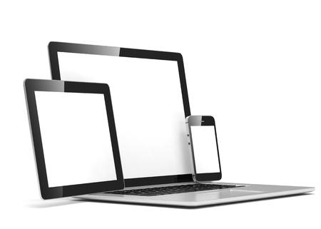 노트북, 태블릿, 흰색에 전화. 3d 렌더링입니다.