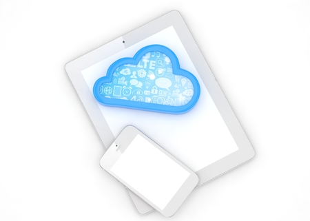 pc: tablet pc, smart phone and cloud. 3d rendering.