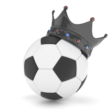 3d ball: Soccer ball with black crown on white background. 3D rendering. Stock Photo