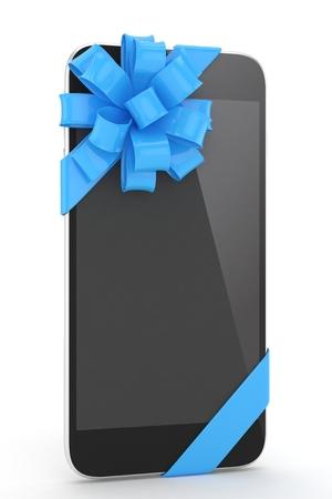 fiestas electronicas: tel�fono negro con el arco azul. representaci�n 3D.