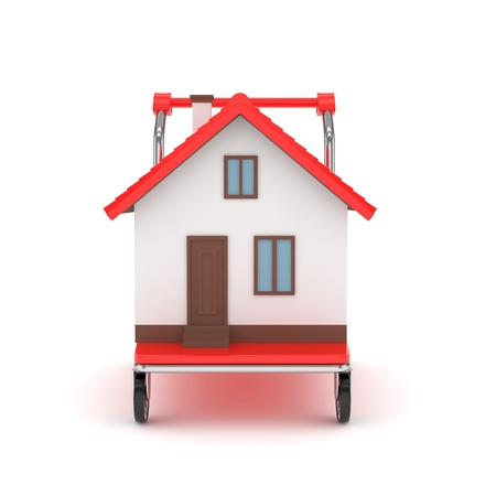 tractor warning: Model of house on wheeled platform on white background. Concept of property moving, delivering. 3D rendering.