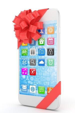 fiestas electronicas: Tel�fono blanco con el arco rojo y los iconos. representaci�n 3D.