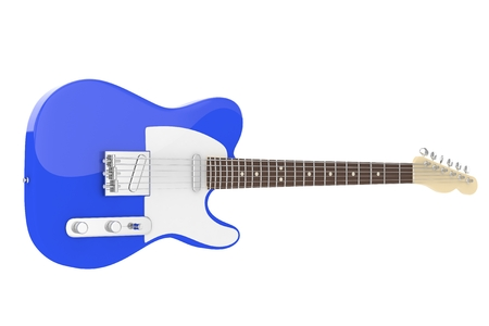 electric blue: Isolated blue electric guitar on white background. Concert and studio equipment. Musical instrument. Rock, blues style. 3D rendering.