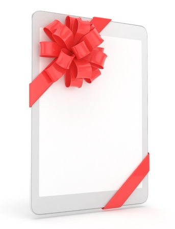 fiestas electronicas: White tablet with red bow and empty screen. 3D rendering.