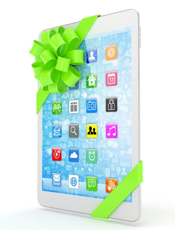 green bow: White tablet with green bow and icons. 3D rendering.