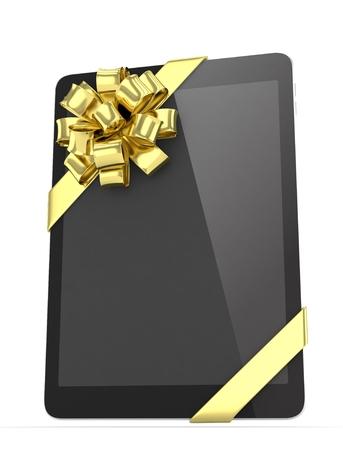 fiestas electronicas: tableta negro con arco dorado. representaci�n 3D.