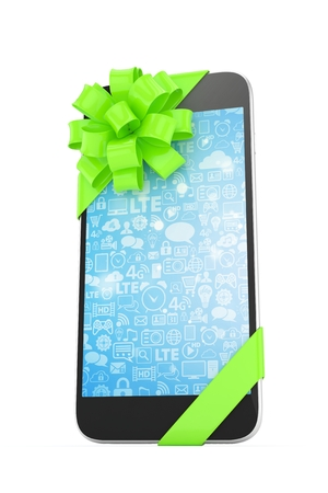 green bow: Black phone with green bow and blue screen. 3D rendering.