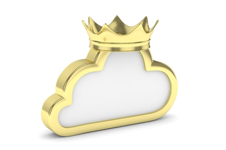broadband: Isolated golden cloud icon with crown on white background. Symbol of communication, network and technology. Broadband. Online database. 3D rendering.