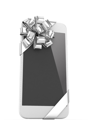 fiestas electronicas: Tel�fono blanco con arco de plata. representaci�n 3D.