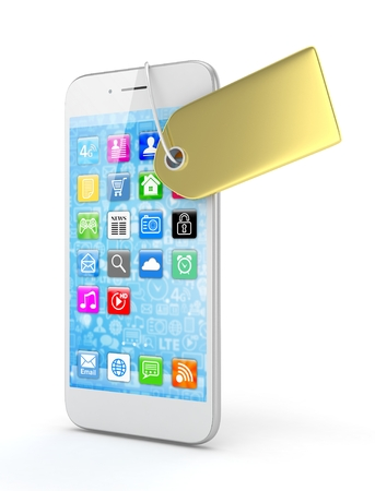 expensive: White smart phone with golden price tag on white background. Identification, price, label. Luxury and expensive offer. 3D rendering.