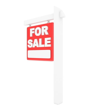 sale sign: For sale sign lease real estate on white background. 3D rendering. Stock Photo