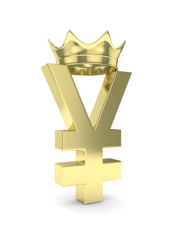 japanese currency: Isolated golden yen yuan sign with golden crown on white background. Chinese japanese currency. Concept of investment, asian market, savings. Power, luxury and wealth. 3D rendering. Stock Photo