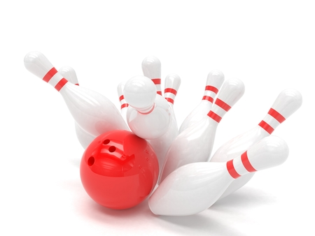 3d ball: Bowling ball and skittles isolated. 3d rendering.