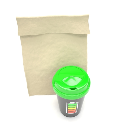 coffee to go: Coffee to go and lunch bag, on white. 3d rendering.