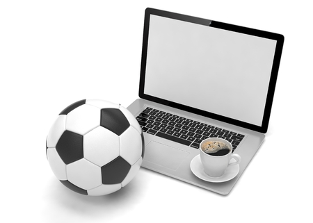 betting: laptop and soccer football ball. on line soccer betting concept. 3d rendering. Stock Photo