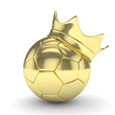 golden ball: Golden soccer ball with golden crown on white background. 3D rendering.