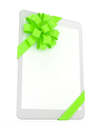 green bow: White tablet with green bow and empty screen. 3D rendering.