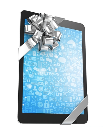 silver screen: Black tablet with silver bow and blue screen. 3D rendering.