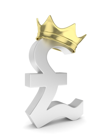 british pound: Isolated silver pound sign with golden crown on white background. British currency. Concept of investment, european market, savings. Power, luxury and wealth. Great Britain, Nothern Ireland. 3D rendering.