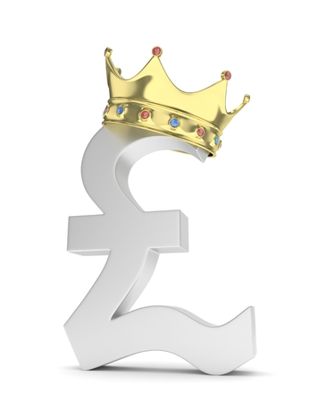 british currency: Isolated silver pound sign with golden crown on white background. British currency. Concept of investment, european market, savings. Power, luxury and wealth. Great Britain, Nothern Ireland. Crown with gems. 3D rendering. Stock Photo