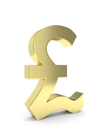 british currency: Isolated golden pound sign on white background. British currency. Concept of investment, european market, savings. Power, luxury and wealth. Great Britain, Nothern Ireland. 3D rendering. Stock Photo