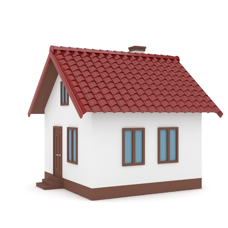 red roof: Isolated home with red roof on white. 3D rendering. Stock Photo