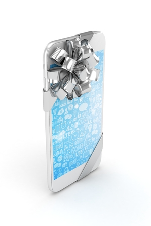 silver screen: White phone with silver bow and blue screen. 3D rendering.