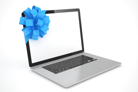 blue bow: Laptop with blue bow and empty screen. 3D rendering.