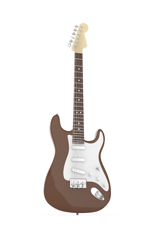 truss: Isolated brown electric guitar on white background.  Musical instrument for rock, blues, metal songs. 3D rendering.